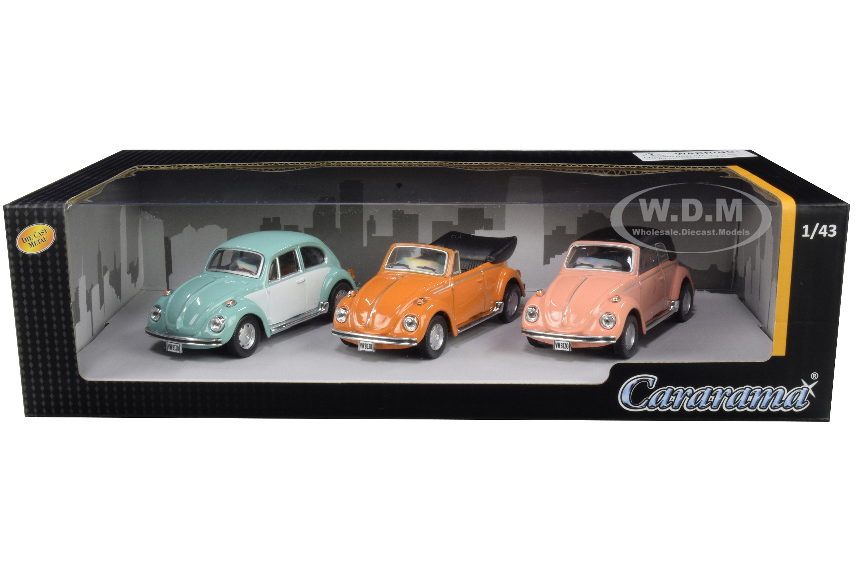 Volkswagen Beetle 3 piece Gift Set 1/43 Diecast Model Cars by Cararama