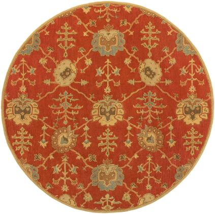 Caesar CAE-1169 6' Round Traditional Rug in Camel  Tan