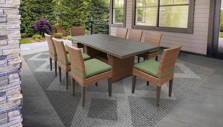 Laguna Collection LAGUNA-DTREC-KIT-8C-CILANTRO Patio Dining Set With 1 Table  8 Side Chairs - Wheat and Cilantro