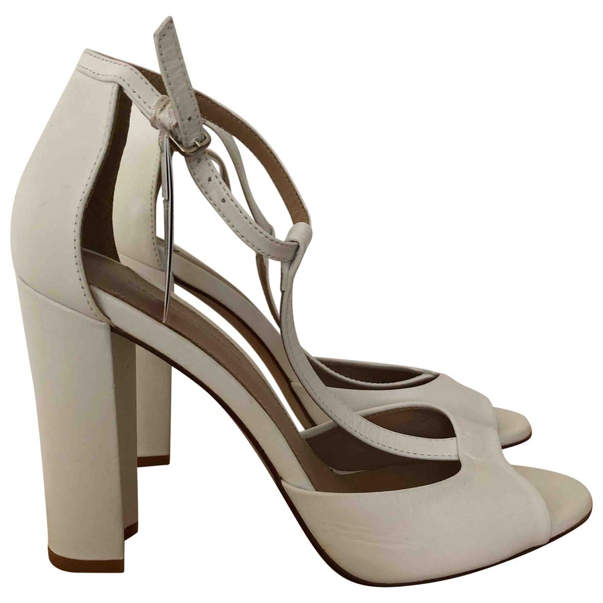 Zara \N White Leather Sandals for Women 40 EU