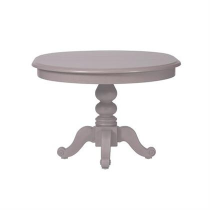 Summer House Collection 407-CD-PDS Pedestal Table with One 12 Inch Leaf  and Turned Legs in Dove Grey