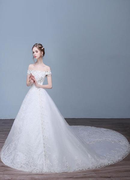 Milanoo Vestidos de Novia de la princesa fuera del hombro de encaje marfil de diamantes de imitacion de novia vestidos de novia con el tren