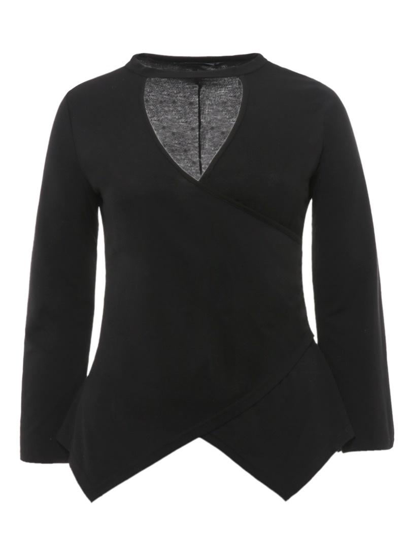 Ericdress Asymmetric Plain V-Neck Plus Size T-Shirt