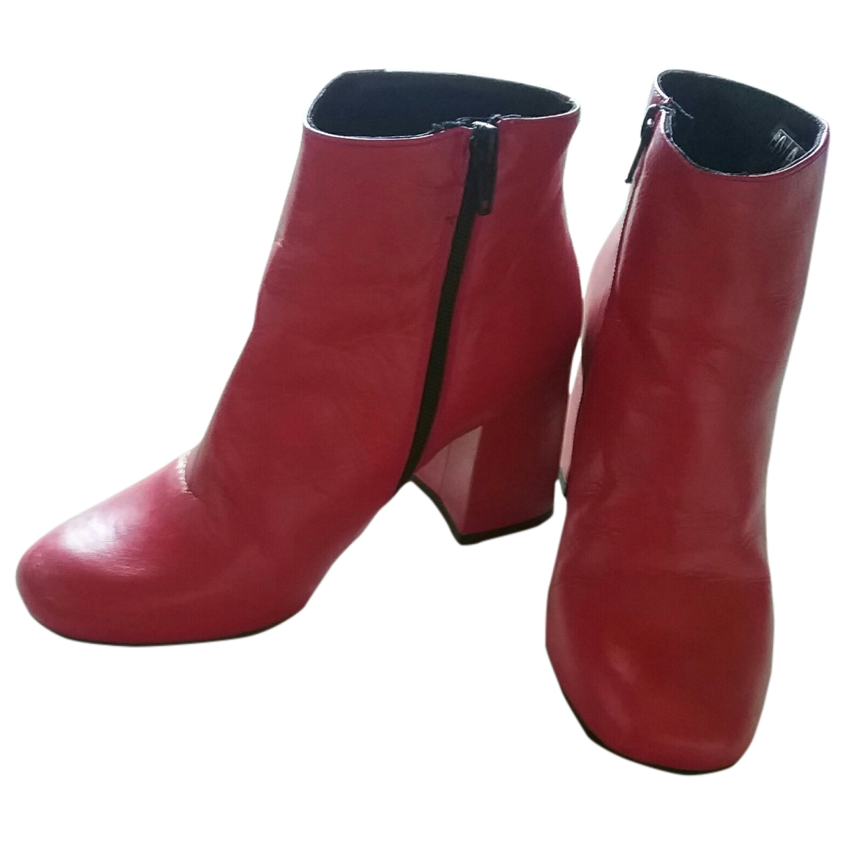 Non Signe / Unsigned \N Stiefeletten in  Rot Leder