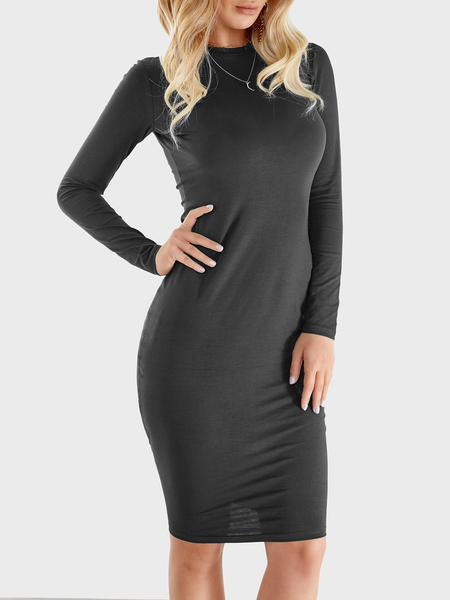 Yoins Dark Grey Round Neck Long Sleeve Midi Dress