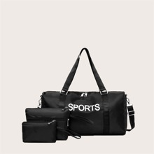 3pcs Letter Graphic Barrel Bag With Clutch