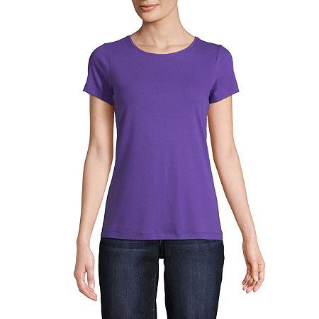 St. John's Bay-Womens Crew Neck Short Sleeve T-Shirt, Petite Small , Purple