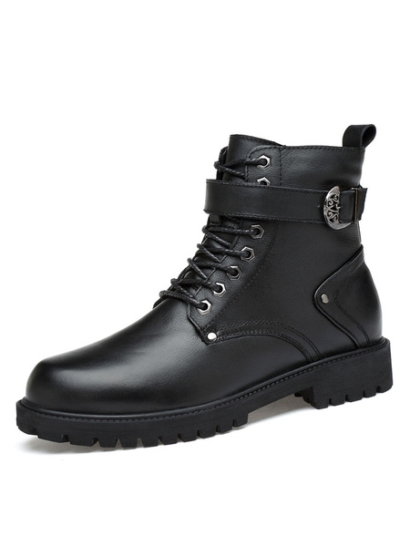 Milanoo Black Motorcycle Boots Cowhide Round Toe Metal Detail Lace Up Boots Men Ankle Boots