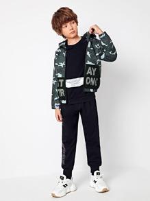 Boys Fishnet Mesh Pocket Slogan Graphic Camo Jacket