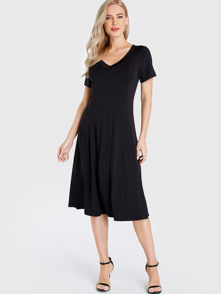 Yoins Black V-neck Short Sleeves Pleated Midi Dress
