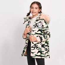 Girls Camo Print Patched Detail Faux Fur Hooded Parka Coat