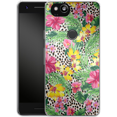 Google Pixel 2 Silikon Handyhuelle - Tropical Cheetah von caseable Designs