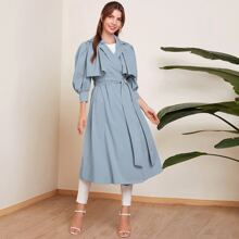 Lapel Neck Belted Trench Coat