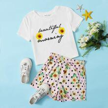 Top mit Sonnenblumen & Buchstaben Muster & Shorts Set