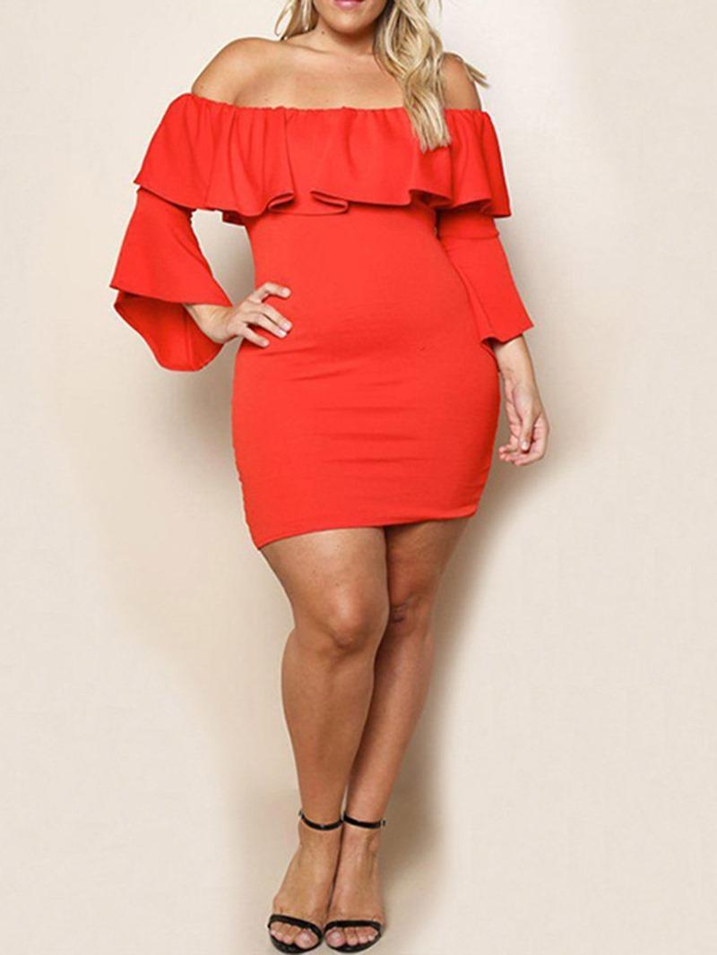 Ericdress Falbala Nine Points Sleeve Off Shoulder High Waist Plus Size Dress