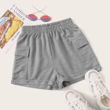 Reine Shorts mit elastischer Taille und Tasche