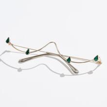 Rhinestone Detail Half Frame Eyewear Glasses Without Lens