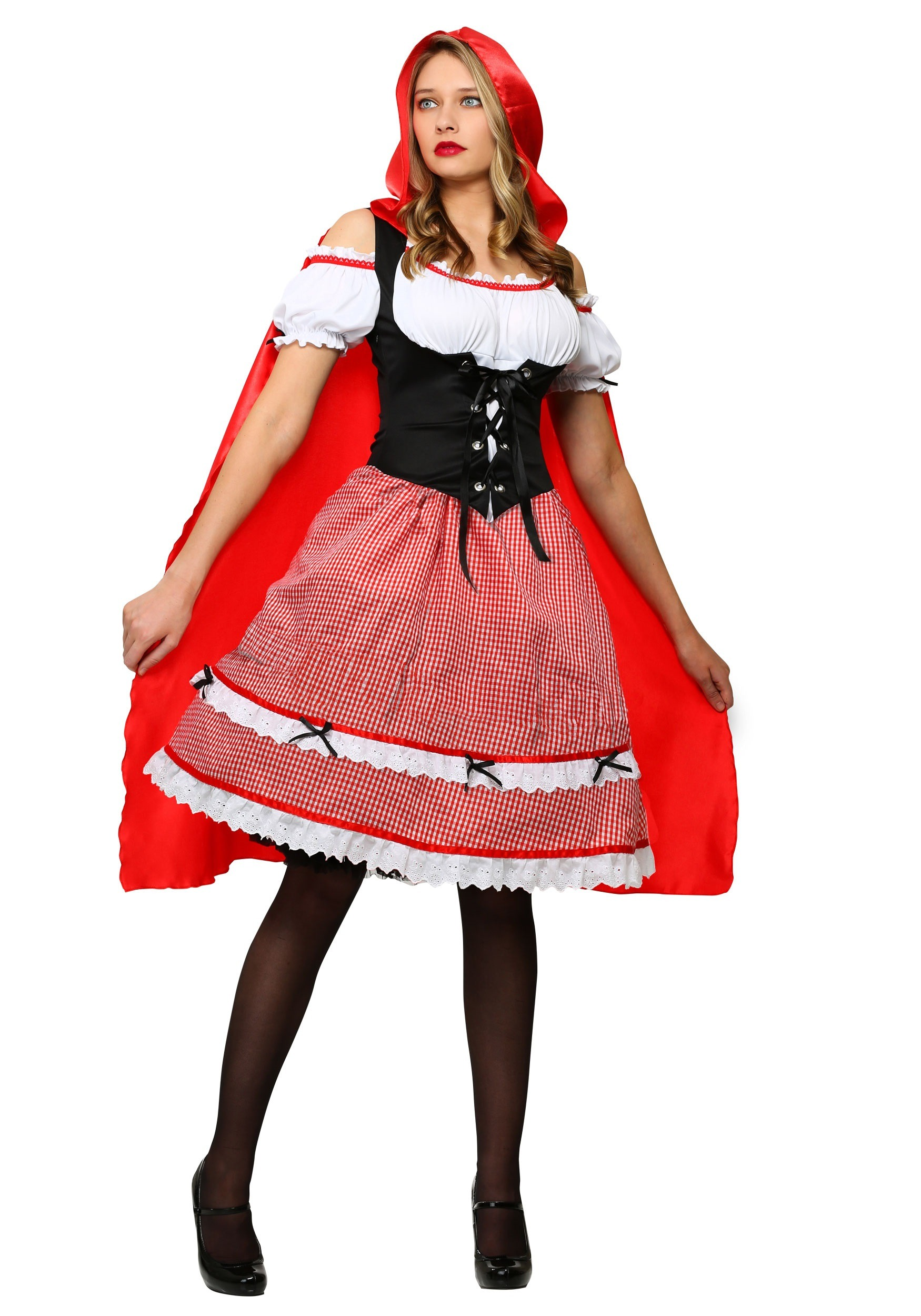 Women's Red Riding Hood Knee Length Dress Costume