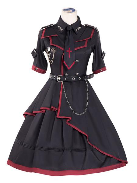 Milanoo Vestido Lolita OP Estilo militar Cadenas negras Remaches Vestidos de una pieza Lolita