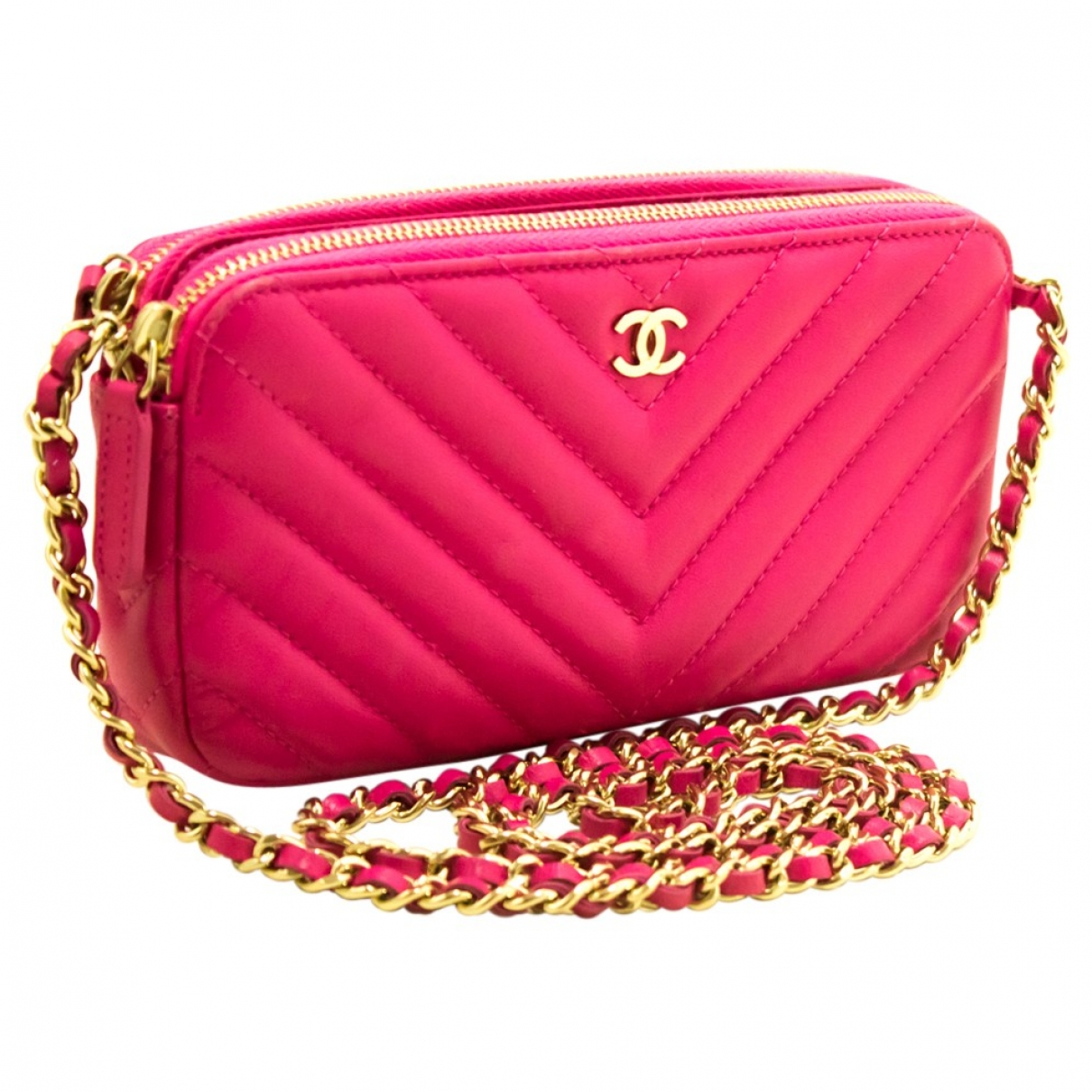 Chanel - Sac a main   pour femme en cuir - rose