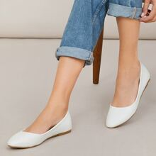 Faux Leather Pointed Toe Ballet Flats