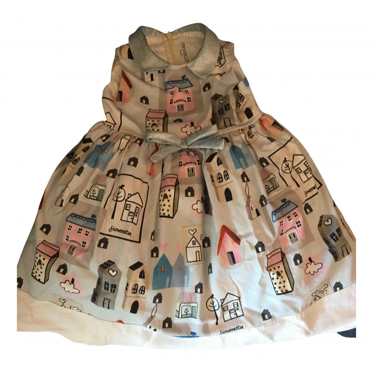 Simonetta - Robe    pour enfant en coton - elasthane - blanc