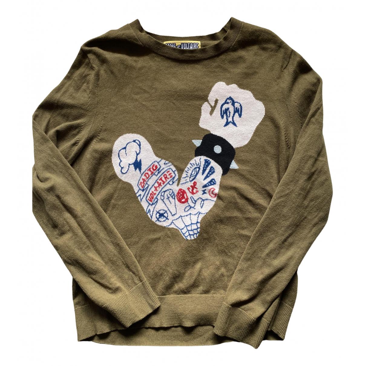 Zadig & Voltaire \N Pullover.Westen.Sweatshirts  in  Khaki Baumwolle