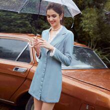 Button Front Lace Trim Blazer Dress