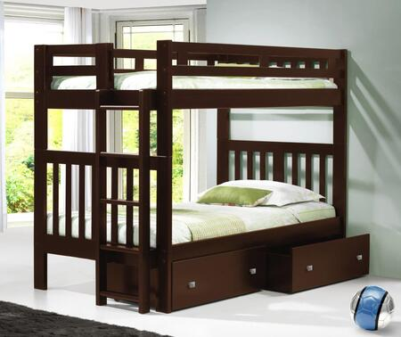 215-TTCP_505-CP Twin/Twin Mission Bunk Bed With Dual Underbed Drawers Dark in Cappuccino