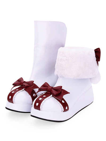 Milanoo Sweet Lolita Snow Boot Bow Pom Pom Two Tone White Lolita Shoes