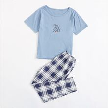 Boys Letter Graphic Tee With Plaid Pants PJ Set