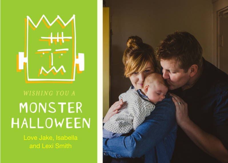 Halloween Photo Cards 5x7 Folded Cards, Premium Cardstock 120lb, Card & Stationery -Monster Halloween Folded by Posh Paper