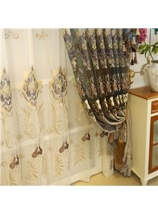 European Style High Quality Embroidered Floral Elegant Curtain Sheer
