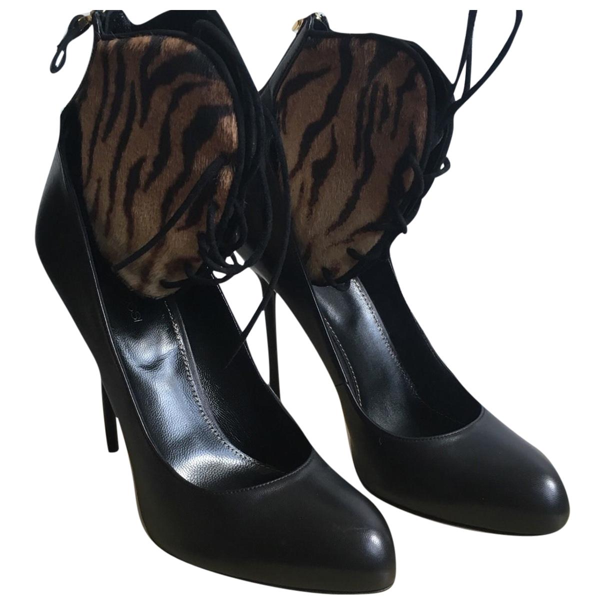 Sergio Rossi - Sandales   pour femme en cuir - noir