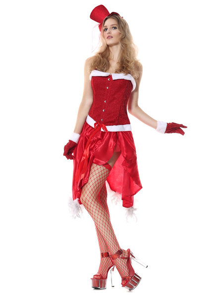 Milanoo Christmas Elf Costume Red Velvet Women Costume Outfit Skirt And Top 4 Pieces