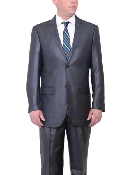 Mens Big and Tall 2 Button Side Vents Sharkskin Charcoal Gray Suit