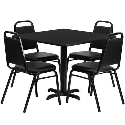 HDBF1009-GG 5 Piece Dining Set with 4 Trapezoid Back Banquet Chairs  Black T-Mold Edge  X-Base  Black Powder Coated Cast Iron Construction  Black