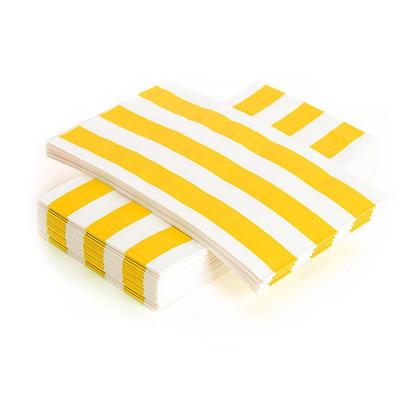 Stripe Paper Guest Towel Dinner Napkin 33*40CM 3Ply Yellow 24Pcs - Living Basics™