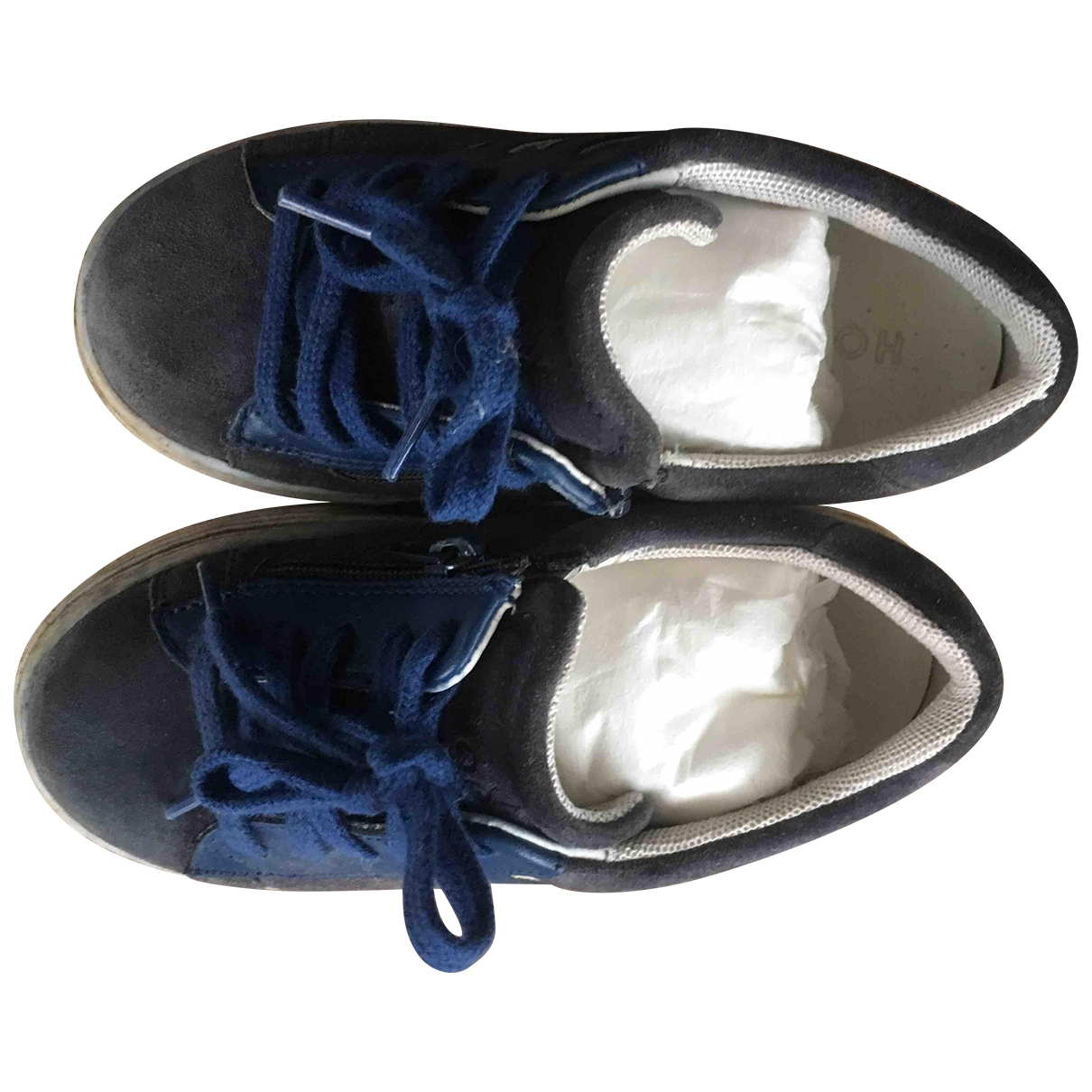 Hogan - Baskets   pour enfant en suede - bleu
