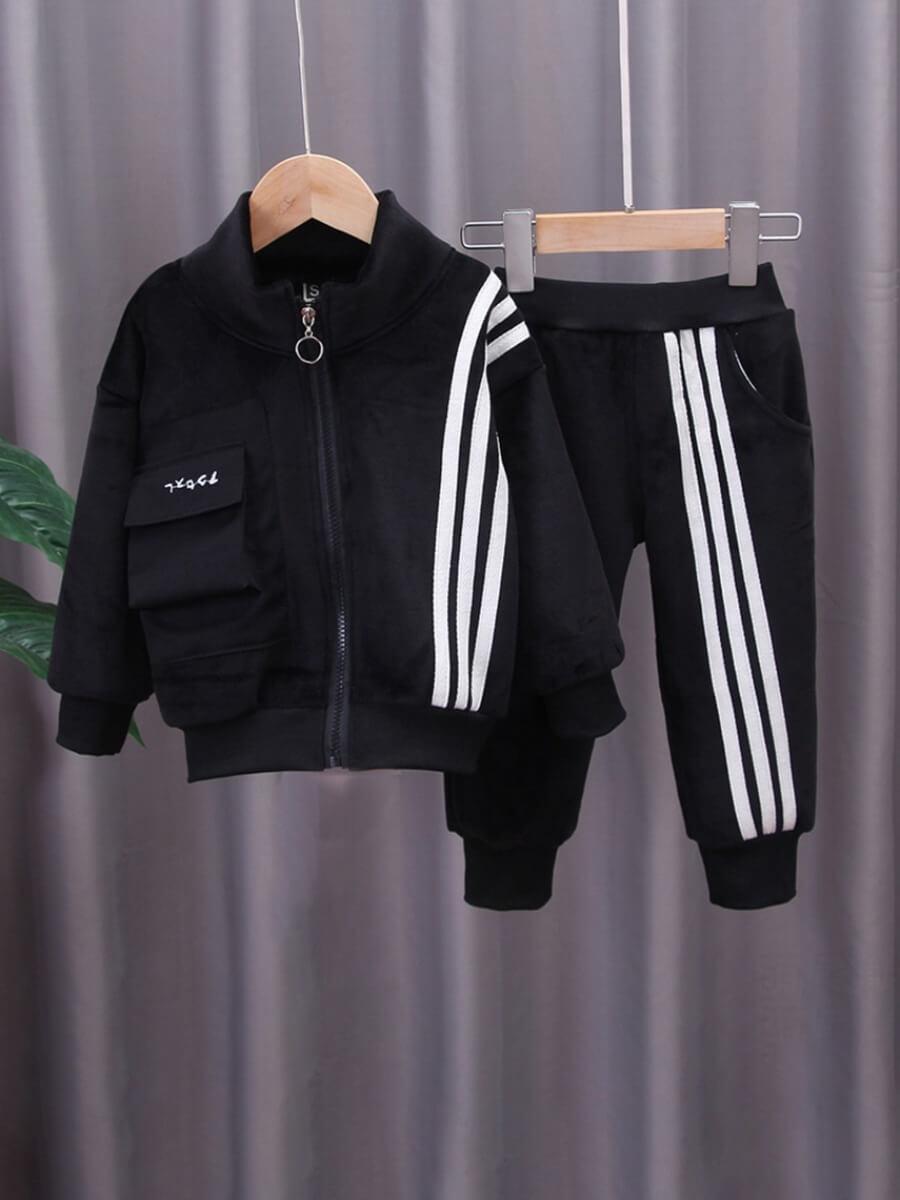LW Lovely Sportswear Patchwork Zipper Design Black Boy Two-piece Pants Set