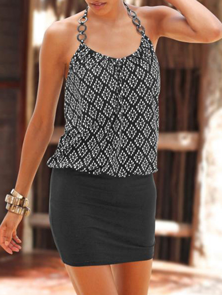 Yoins Casual Black Print Backless Tie-up Halter Sleeveless Mini Dress