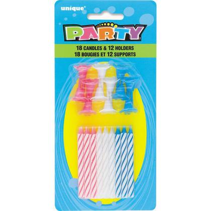 Multicolore Spirale Anniversaire Bougies Avec les Détenteurs de 18Pcs