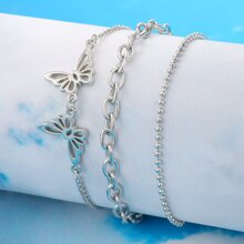 3pcs Butterfly Decor Bracelet