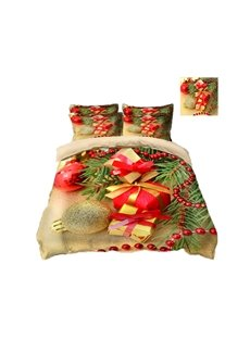 Christmas Presents Printing Polyester 3D 4-Piece Bedding Sets/Duvet Covers
