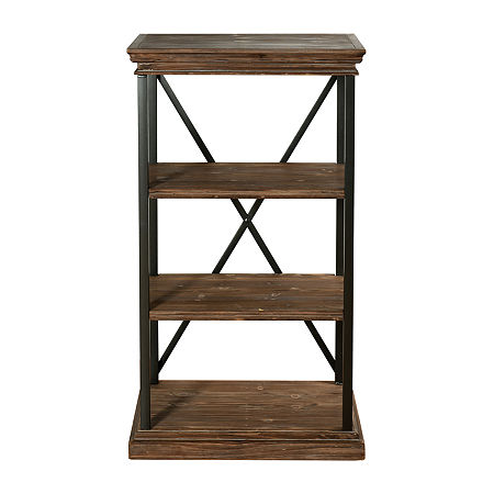 Stylecraft Driftwood Grey Metal and Wood 4 Tier Bookshelves, One Size , Black