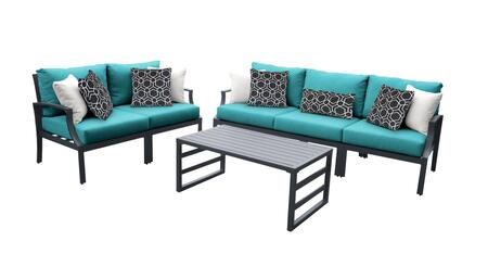 Lexington LEXINGTON-06m-ARUBA 6-Piece Aluminum Patio Set 06m with 2 Left Arm Chairs  2 Right Arm Chairs  1 Armless Chair and 1 Coffee Table - Ash and