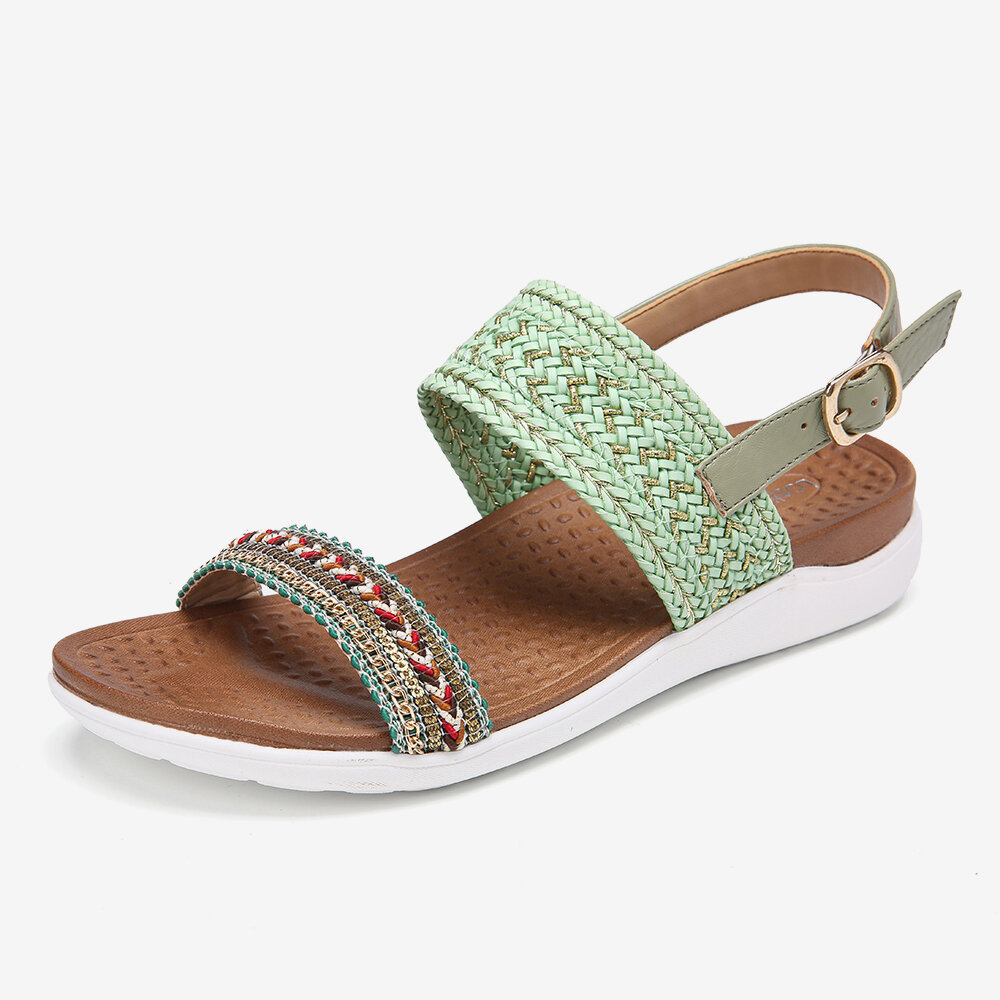 LOSTISY Women Folkways Embroidered Comfy Slip Resistant Casual Beach Sandals