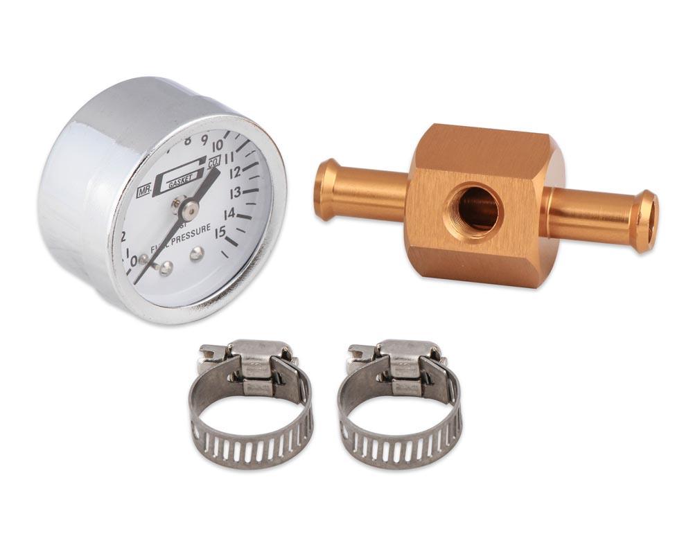 Mr. Gasket Fuel Block with 0-15 PSI Fuel Pressure Gauge