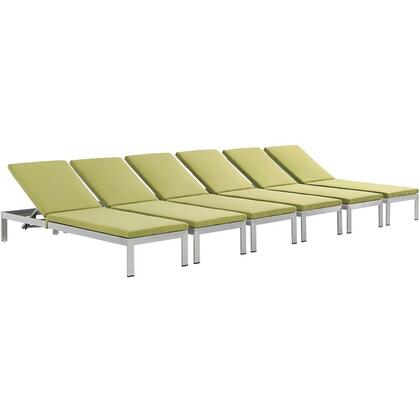 Shore Collection EEI-2739-SLV-PER-SET Set of (6) 76 Outdoor Patio Aluminum Chaises with Adjustable Height  Breathable Textilene Mesh  Woven PVC