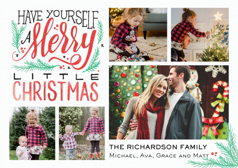 Christmas Photo Cards 5x7 Cards, Premium Cardstock 120lb with Elegant Corners, Card & Stationery -Christmas Merry Script Collage